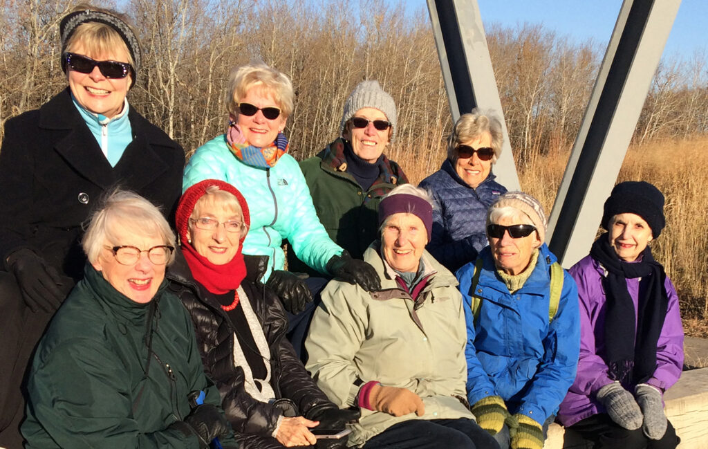Group of University Women's Club members on a nature walk.